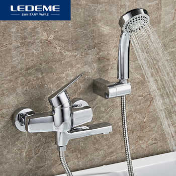 LEDEME Bathtub Faucet 1 set Bathroom Chrome Plated Round Shower Head Faucets Surface Bathtub Faucets Outlet Pipe Bath L3140 - DISCOUNT ITEM  40% OFF All Category
