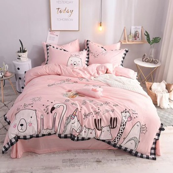 Pink Cartoon Zoo Unicorn 60S Egyptian cotton King Queen Full Size child Bedding Set Duvet Cover Bed Linen Bed sheet Pillowcases