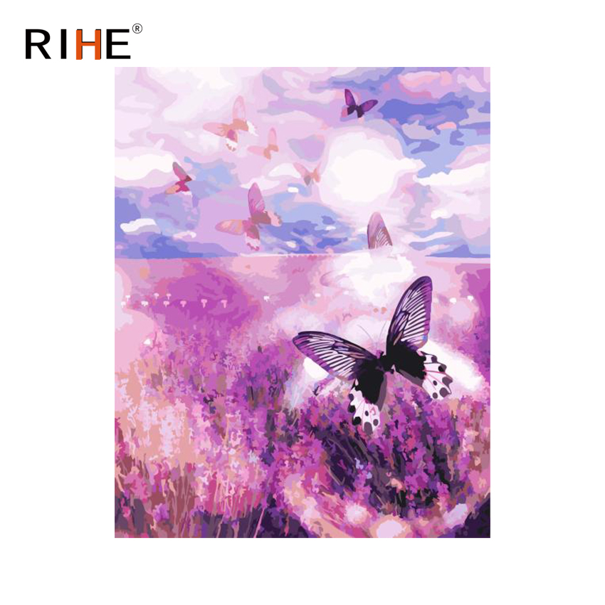 RIHE Flower Land Diy Painting By Numbers Butterfly Oil Painting On Canvas Hand Painted Cuadros Decoracion Acrylic Paint For Home ...