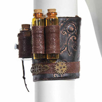 Unisex Retro Punk Copper Gearwheel Floral Carving Steampunk Armband Arm Belt Wristband Gothic Corset Cosplay Costume Accessories