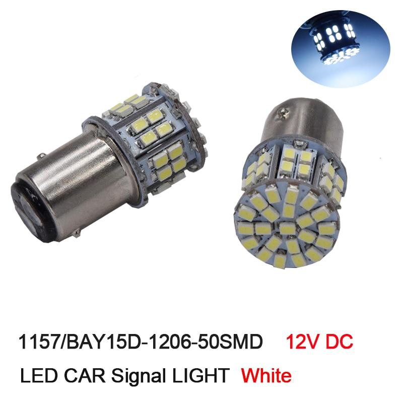 100Pcs 1157 BAY15D 1206 3020 LED Car Bulbs 50 SMD High Power Lamp P21/5w Rear Brake Lights Source Parking White 12V DC