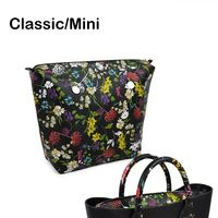 New Classic Mini Floral Print PU Leather Lining Zipper Inner Pocket Waterproof Insert For Obag EVA