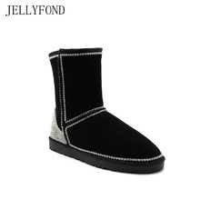 JELLYFOND 2017 Genuine Leather Winter Boots Women Luxury Handmade Gem Rhinestones Bling Warm Fur Snow Boots Big Size EU35-42