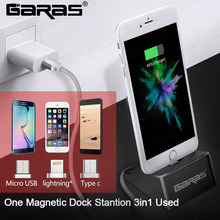 GARAS Magnetic Dock Station For iPhone/Micro USB/Type C Magnet connector Charger Dock Station For Iphone/Android USB Desktop