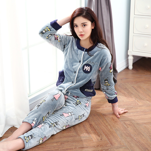 Winter Pyjamas Women Full Trousers Lady Two Piece Pajama Set Cartoon  Flannel Female cardigan Home Clothing b312dfe99