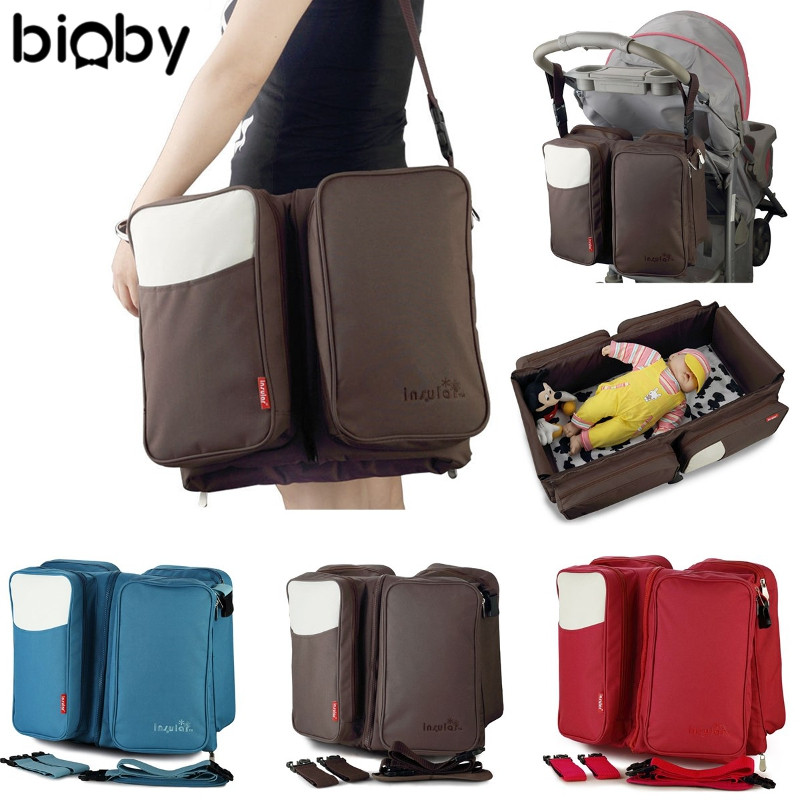 2 in1 Foldable Mummy Bag Portable Travel Bed Crib Baby Diaper Changing Nappy Bag Waterproof Multipurpose Insulation Bag 3 Colors  цена и фото