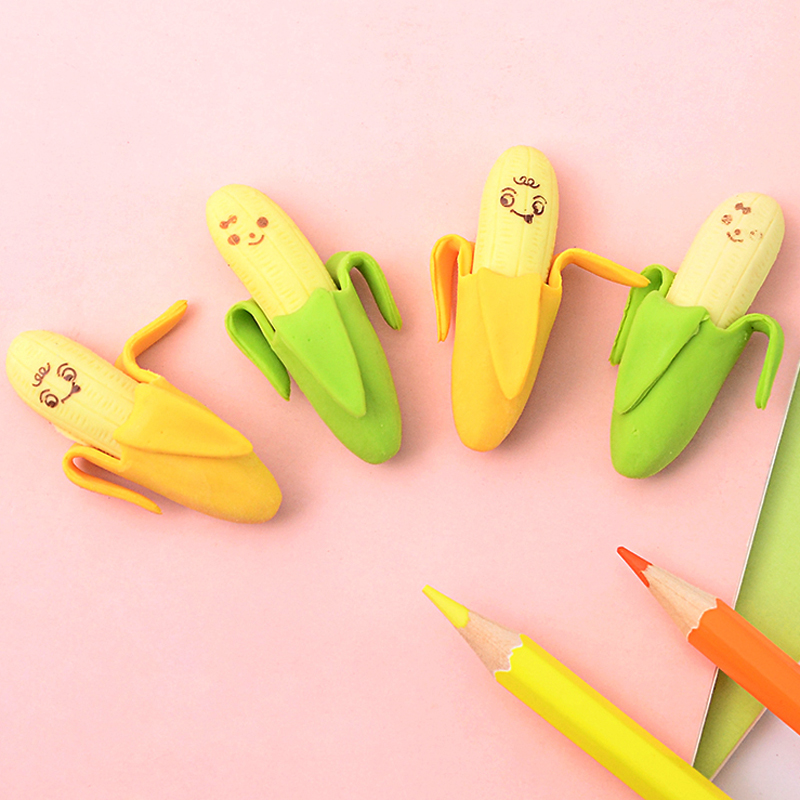 10 Pcs/lot Cute Kawaii Banana Rubber Eraser Creative Erasers For Kids Office School Supplies Stationery Student Gift