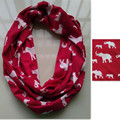 Fashion Women Knit Jersey Cotton Red White Animal Elephant Infinity Scarf, Circle Scarves, Ring Wholesale 10pcs/lot A002