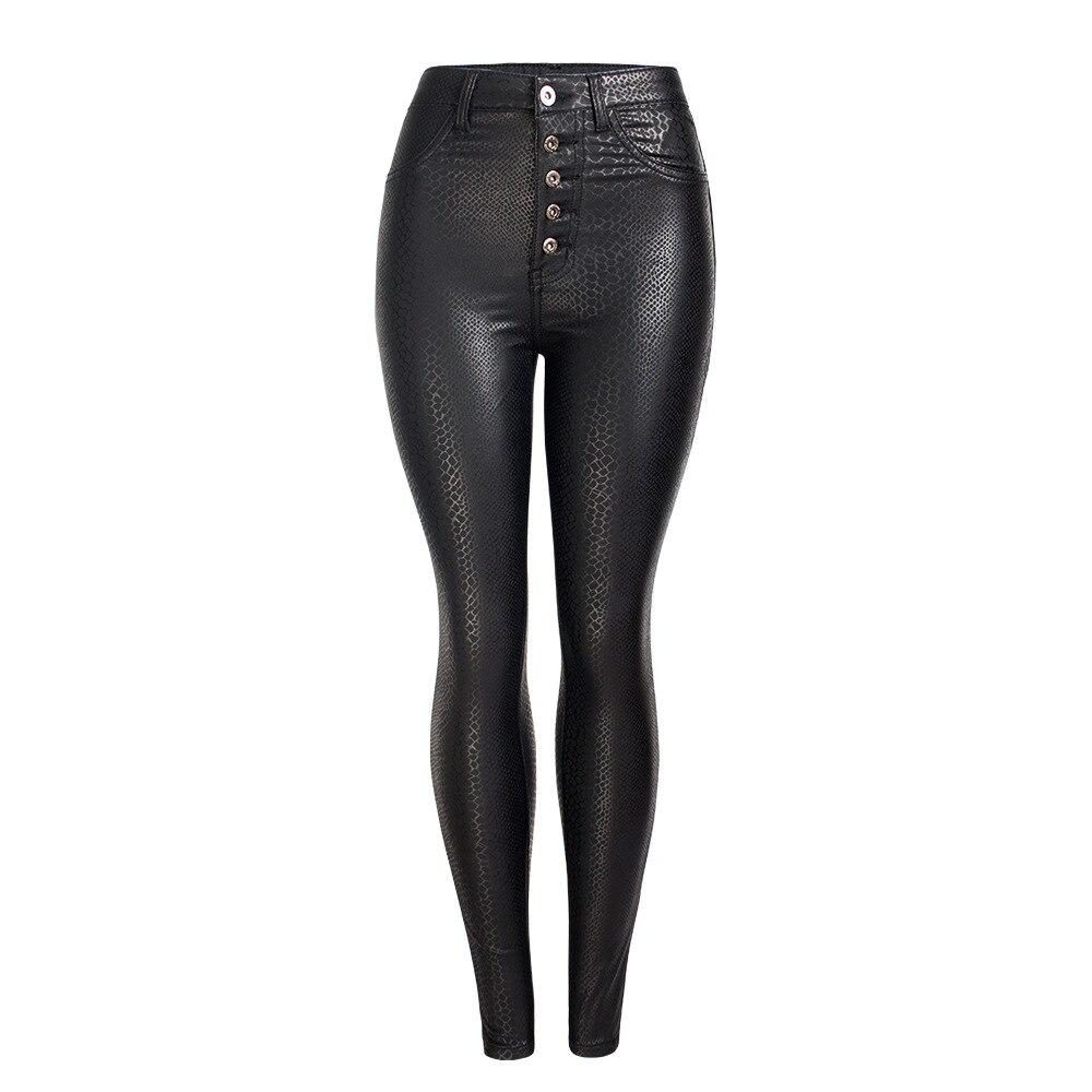 Pantalon cuir printemps et automne pantalon mince PU pantalon crayon taille haute pantalon grande taille noir Plus velours Legging Skinny pantalon