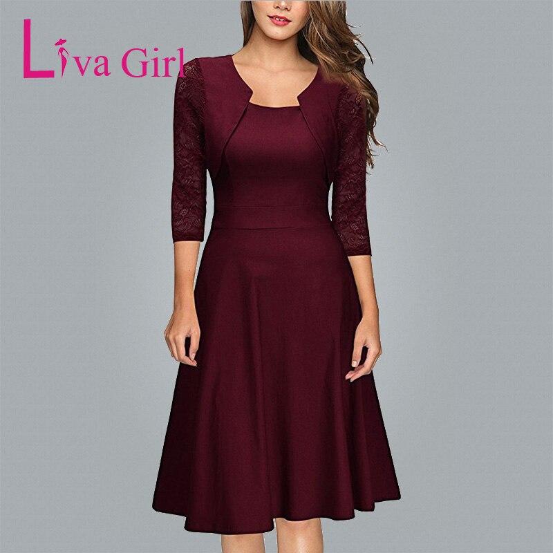 Liva Girl женское асимметричное платье с вырезом бордовое весенне-зимнее женское кружевное платье миди элегантное вечернее платье XXL Vestidos