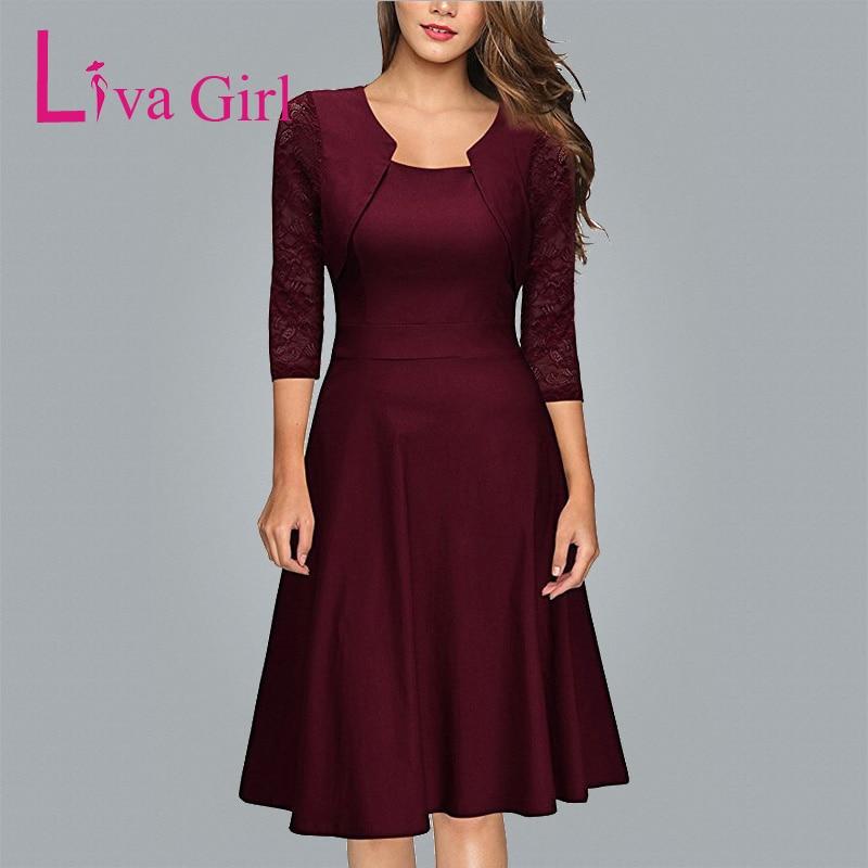 Liva Dívčí dámské asymetrické krk Burgundské šaty jarní - Dámské oblečení