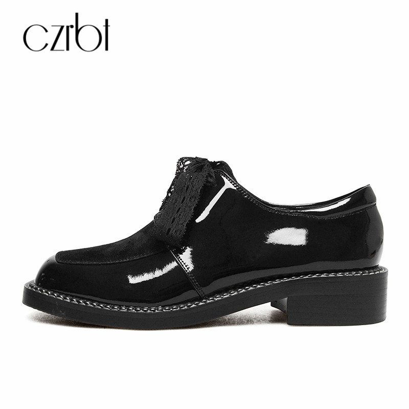 CZRBT Oxfords Shoes Plus Size Women Flat Autumn Patent Leather Women Shoes Lace Up Square Toe Casual Black Ladies Flat Shoes size 34 48 spring autumn lace up flat shoes women classic solid color round toe oxfords shoes high quality retro casual shoes