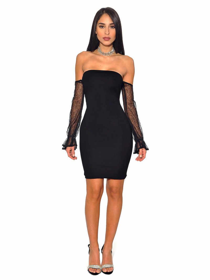 Модные Вечерние Платья-футляры, сексуальное женское мини платье-футляр, новейший дизайн, черное платье с открытыми плечами, кружевное Сетчатое коктейльное платье с длинными рукавами
