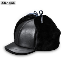 XdanqinX Winter Middle-aged Mens Hat Warm Genuine Leather Sheepskin Bomber Hats Thick Fur Earmuffs For Men Dad Cap