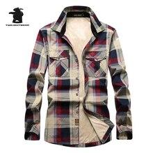 Winter Neue Herren Fleece Casual Shirts Marke Fashion Plaid Hohe Qualität 100% Baumwolle Plus Größe Verdicken Freizeithemd Männer C16E1598