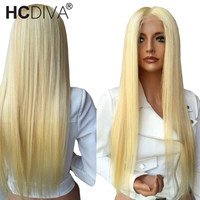 613 Blonde Wigs 13*4 Lace Front Wig 130% Density Brazilian Straight Remy Human Hair Wig Pre Plucked Transparent Lace Wigs HCDIVA