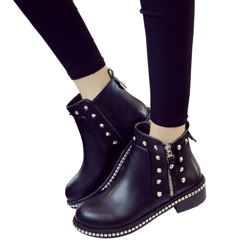 New Fashion Women PU Leather Rivets Martin Boots Autumn Winter Boots Classic Zipper Ankle Boots Round Toe Solid Women Shoes