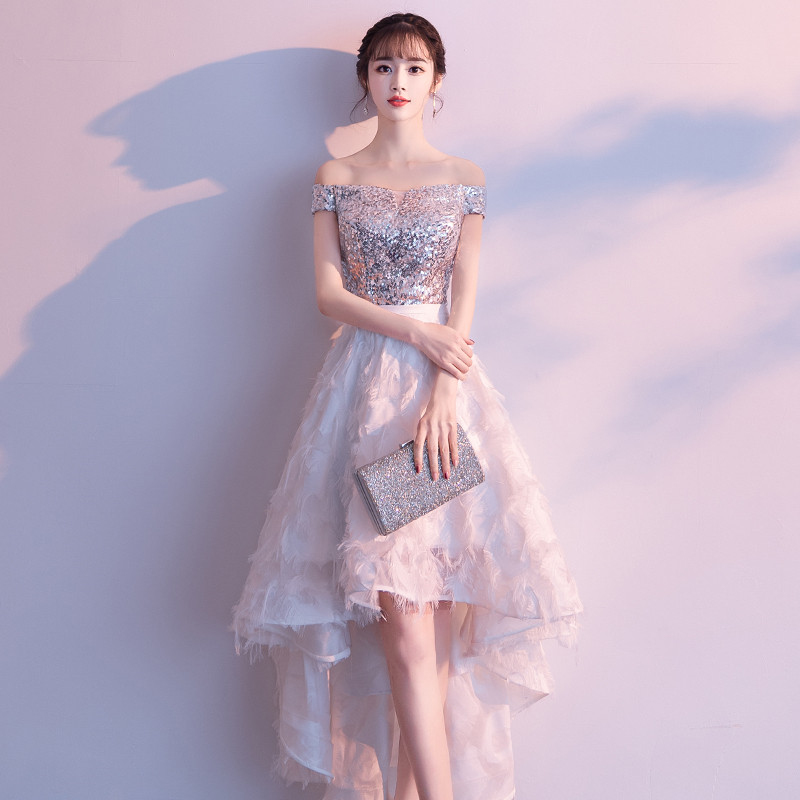 weiyin 2019   Evening     Dresses   Boat-neck Short Front Long Back Lace Lace A-line Women Party Special Occasion Prom Gown WY1100