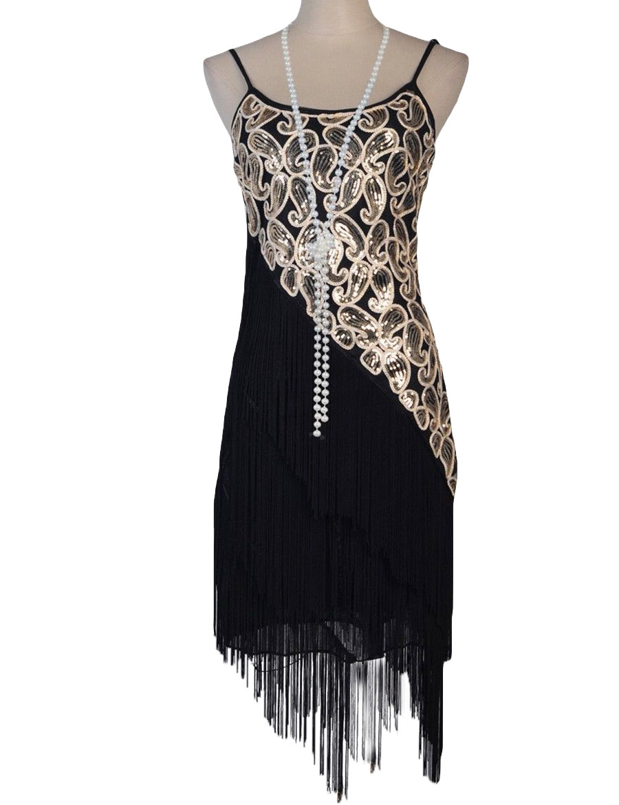 Buy Cheap Women's 1920S Paisley Art Deco Sequin Tassel Double Side Glam Party Gatsby Flapper Dress Six Color Three Size