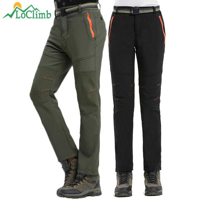 LoClimb Winter Warm Waterproof Pants Men Women Climbing Trekking Sports Trousers Camping Ski Softshell Fleece Hiking Pants AM336