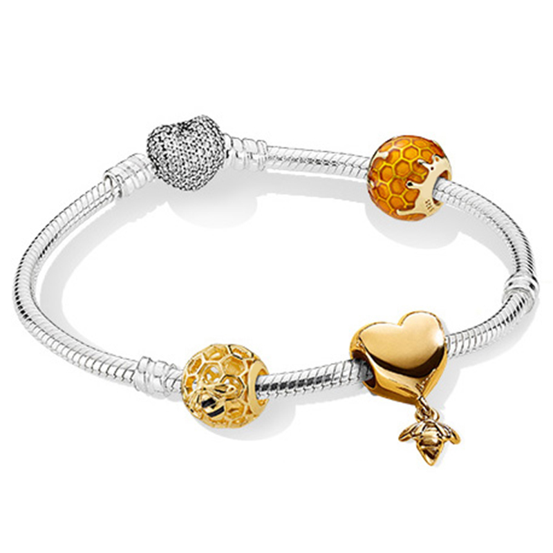 NEW 100% 925 Sterling Silver New Bracelet Suit Love And Bees 18 Gold Color Luxury Bracelet Suit Suitable DIY GiftNEW 100% 925 Sterling Silver New Bracelet Suit Love And Bees 18 Gold Color Luxury Bracelet Suit Suitable DIY Gift
