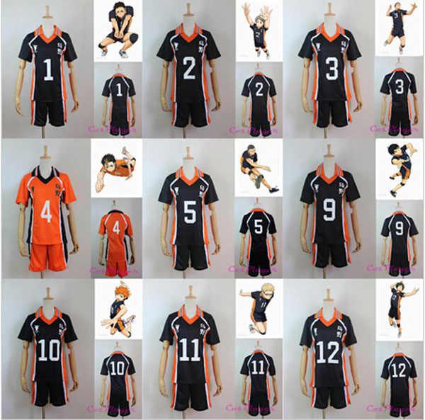 Mới nhất Haikyuu Cosplay Costume Karasuno Trường Cao Câu Lạc Bộ Hinata Shyouyou Đồ Thể Thao Jerseys Uniform Miễn Phí Vận Chuyển