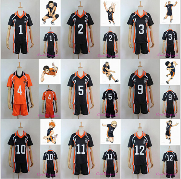 Newest Haikyuu Cosplay Costume Karasuno High School Club Hinata Shyouyou Sportswear Jerseys Uniform Free Shipping