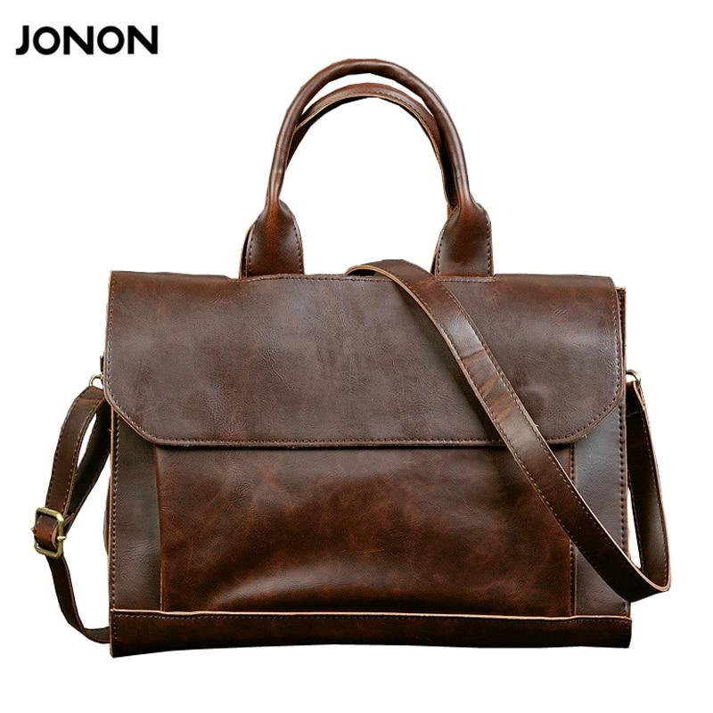 ФОТО JONON 2016 new arrival men's messenger bags Leather Shoulder Messenger Business Computer Briefcase Laptop Bag for 12 Inches