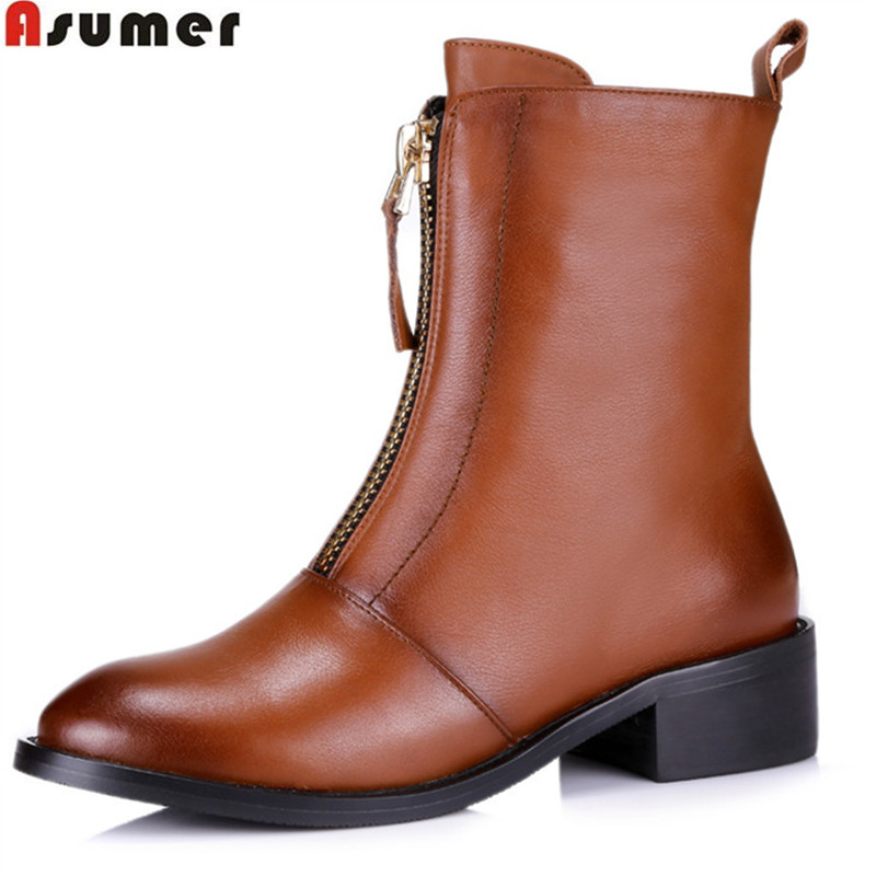 ASUMER 2018 hot sale new arrive women boots fashion zipper genuine leather mid calf boots black brown simple comfortable memunia new arrive hot sale genuine