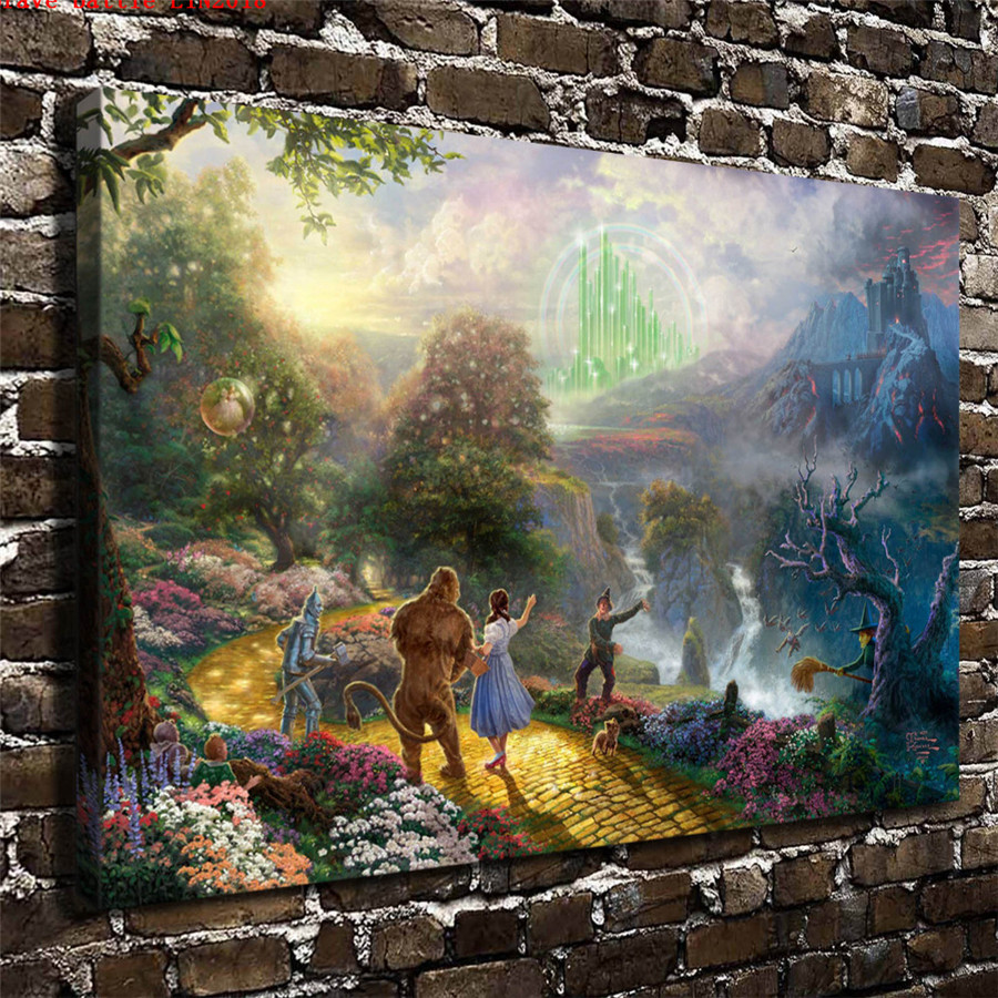 Thomas kinkade dorothy discovers emerald city canvas - Home interiors thomas kinkade prints ...