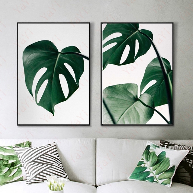 Nordic tropical plants green leaves decorative paintings bedrooms ...
