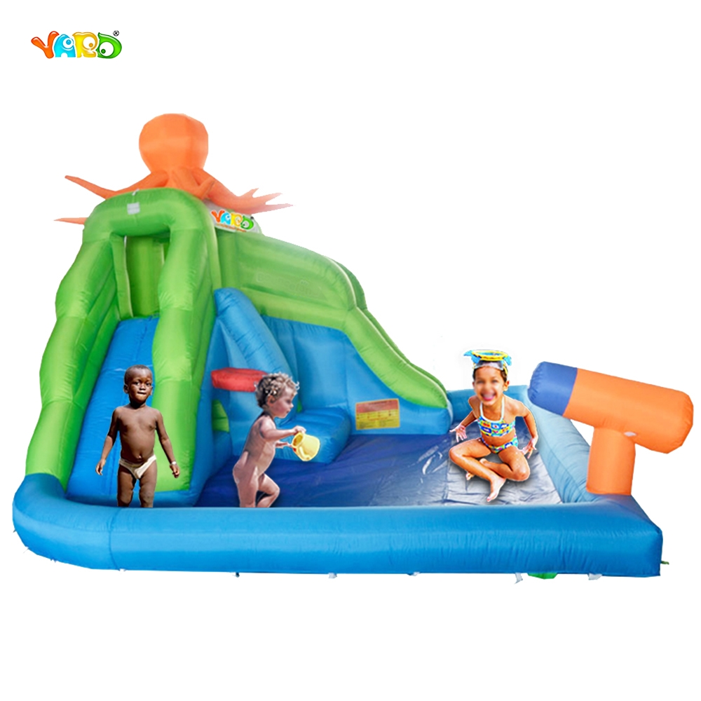 YARD Backyard Octopus Inflatable Water Park Slide Swimming Pool with Water Cannon for Kids Hot Summer DHL Free Shipping To Asia environmentally friendly pvc inflatable shell water floating row of a variety of swimming pearl shell swimming ring