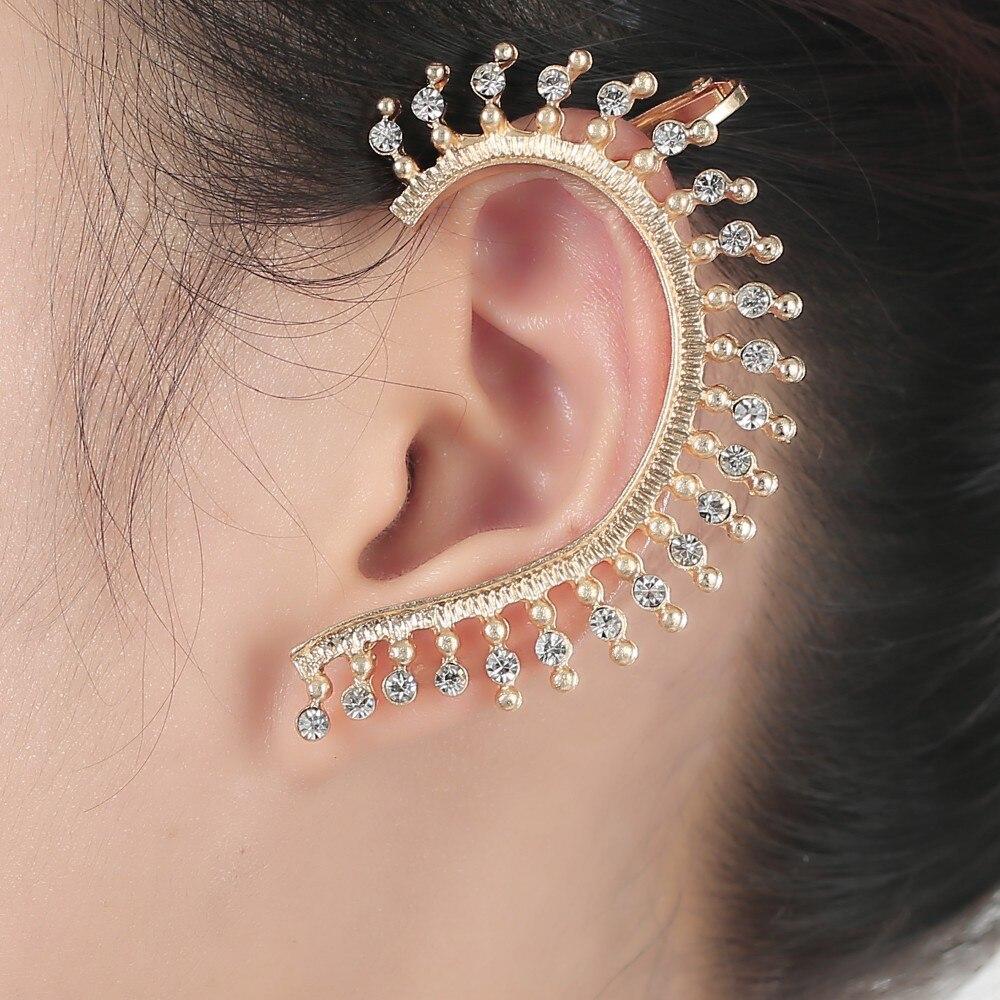 Free Shipping 2015 New Gold Earrings Cuff Full Crystal Ear Cartilage  Earrings Clip Earrings For Women Party