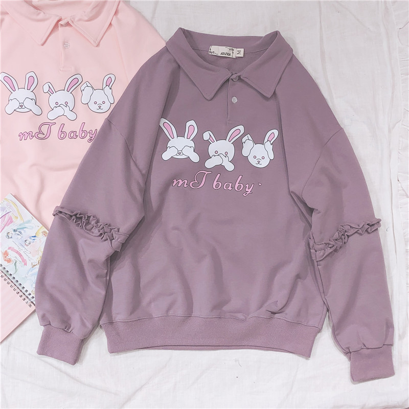 Harajuku Cute Rabbit Print Women Hoodies Young Girl Student Pullover Spring Polo collar Long Sleeve Hooded Sweatshirt 2019