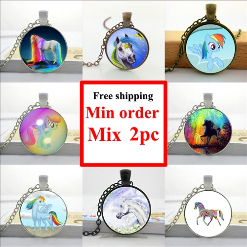 2016 Rainbow Horse Pendant Rainbow Horse Necklace Running Horse Jewelry Glass Cabochon Necklace Pendant HZ1