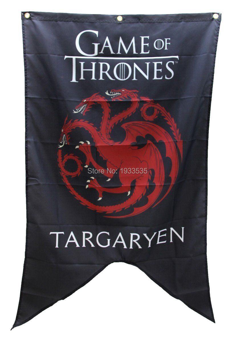 game of thrones bannire maison targaryen famille rouge dragon sigil drapeau 3ftx5ft bannire en laiton mtal trous drapeau