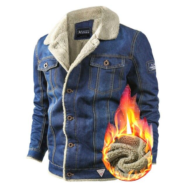 buy popular 0617c ce3a6 VOLGINS di Marca Mens Denim Giacca Autunno Inverno Militare Jeans Da Uomo  Spessore Caldo Bomber Esercito Giubbotti Cappotti
