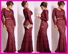 2014 Burgundy Scoop Two Piece Long Sleeve Formal Mermaid Lace Evening Prom Dress Gown E5240