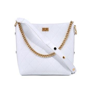 Camelia Bucket Bag Genuine Cow Leather Celebrity Handbag
