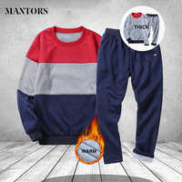 Winter Tracksuits Men Set Sporting Warm Thick track suit Male Fitness Long Sleeve Striped Sweatshirts+SweatPants Mens Clothing
