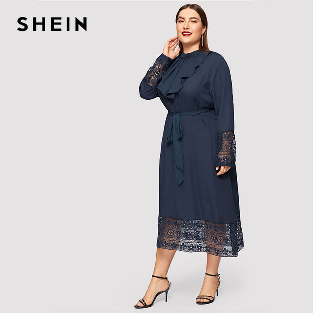 SHEIN Navy Women Plus Size Elegant Contrast Lace Belted Ruffle Trim Maxi Dress Women Stand Collar Long Sleeve Dresses 2