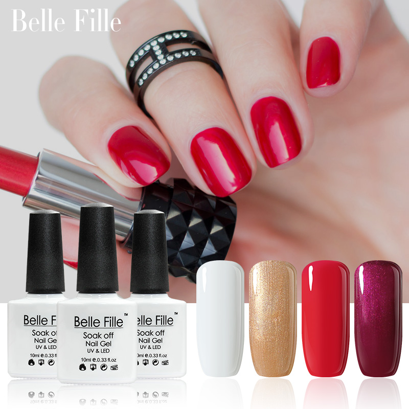 Belle Fille Gel Nail Polish Gold Bling Shining Gel UV Ljus Blod Rödvin Nagellack Polsk Golden Glitter UV Gel Manikyr Konst