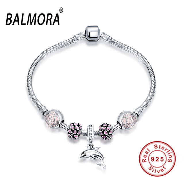 Chegada nova 100% Real Pure 925 Sterling Silver Jewelry com Dolphin Charme Pulseiras para As Mulheres da Festa de Noivado Jóias PDRSVH001