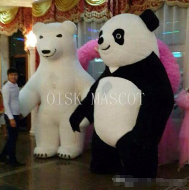 OISK 3 M de haut grande mascotte ours polaire gonflable et costume de mascotte Panda taille adulte avec souffleur d'air les gens peuvent marcher à l'intérieur
