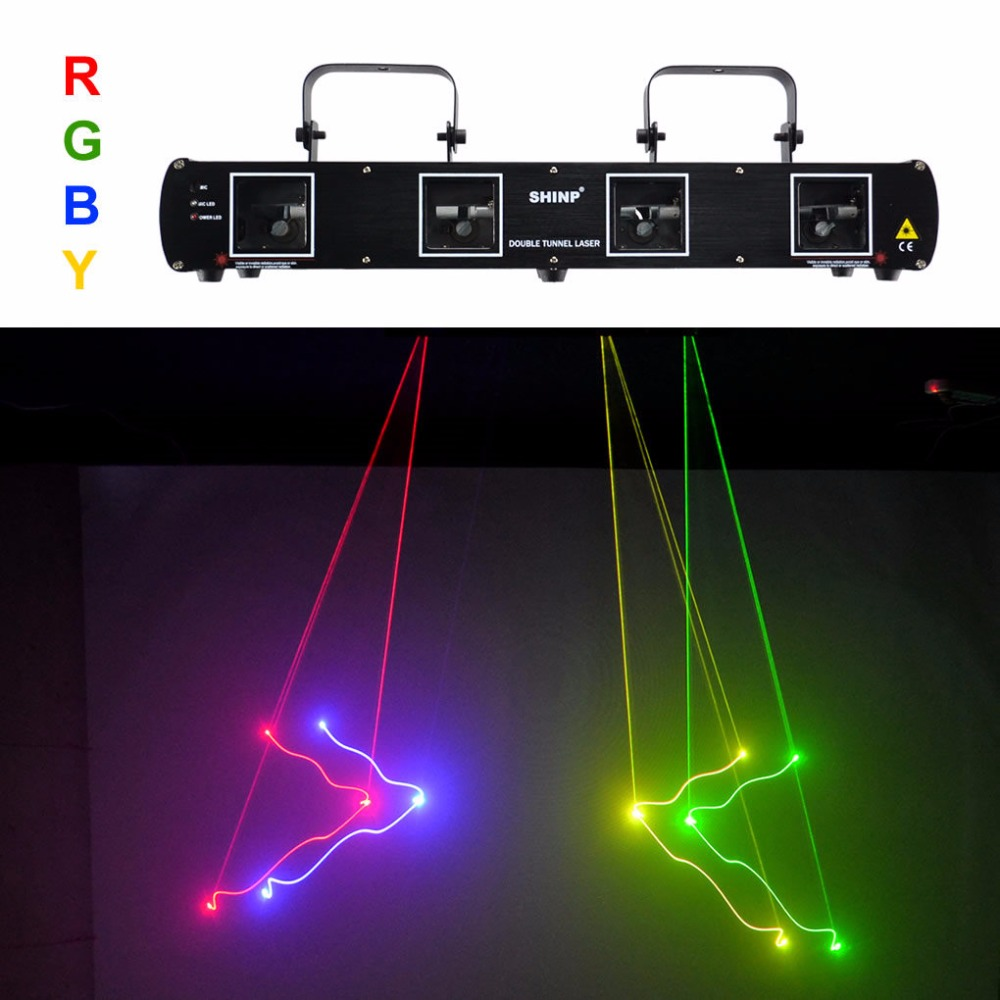 SHINP 4 Lens  RGBY Laser 7CH DMX DPSS Scanner Equipment Stage Lighting Projector DJ Party Disco KTV Show System Lights DL55C+ rg mini 3 lens 24 patterns led laser projector stage lighting effect 3w blue for dj disco party club laser