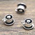 10pcs Coffee Charms  Antique Tibetan silver 3D with Heart charm pendants 10x13x13mm