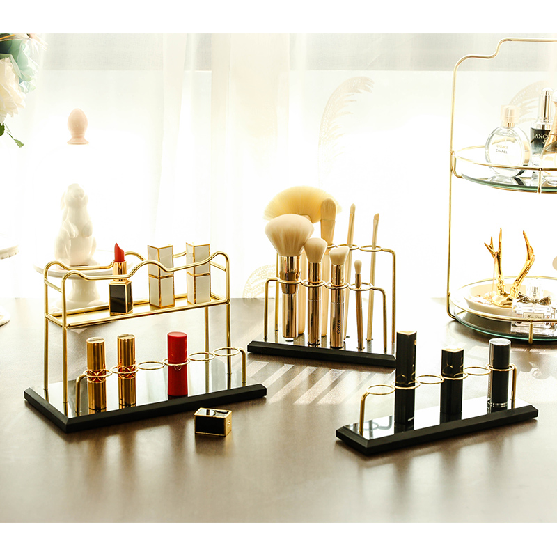 Makeup Organizer Storage Box Cosmetic Storage Box Brush Holder Finishing The Desktop Dressing Table Marble Display Lipstick Rack