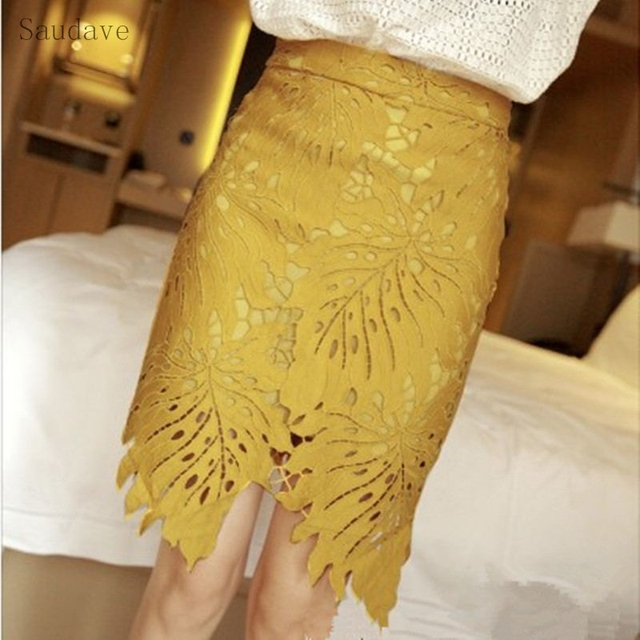 89d7bdb0c New Spring Summer Women Yellow Mini Skirt Korean High Waist Pencil Skirt  Shorts Lace Sweet Lady
