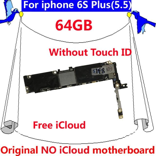 64GB Original motherboard for iphone 6 S Plus Clean iCloud full unlock IOS  system mainboard without Touch ID for iphone 6S Plus-in Mobile Phone