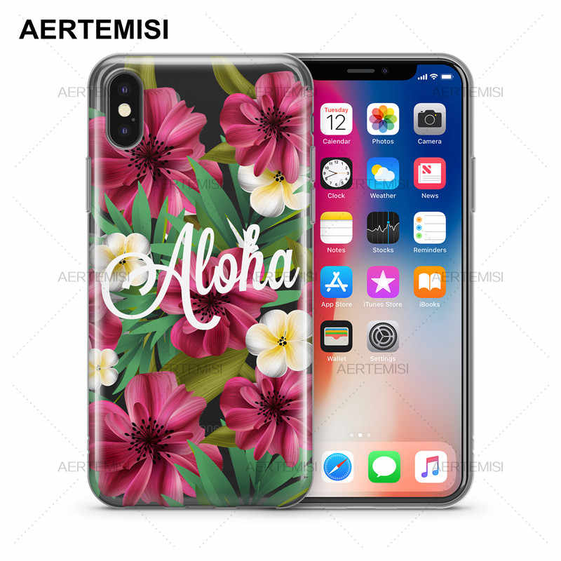 Casos de Telefone Aertemisi Aloha Cristal Transparente Claro Macio TPU Caso Capa para iPhone 5 5S SE 6 7 6s 8 Plus X XS Max XR